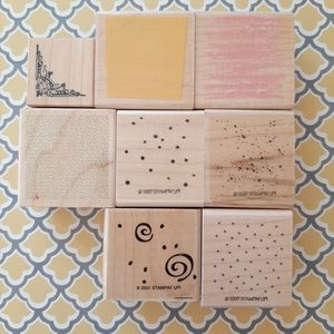 8 background and texture rubber stamps